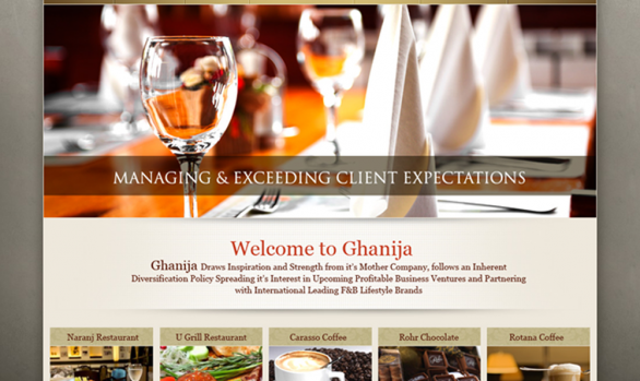 Ghanija Restaurant website